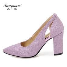 купить Fanyuan Women High Heels 2018 Sexy Openwork Woman Shoes Pumps Silver Gold Bling Pointed Toe Glitter Dance Prom Wedding Shoes по цене 1385.26 рублей