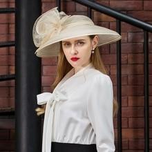 Large Wide Brim Organza Fedora Hat Wedding Fascinator Vintage Ladies Floral Hat