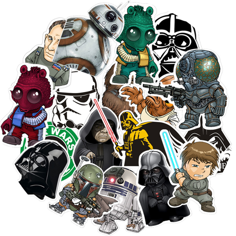 Disney 35pcs Mixed Star Wars Stickers Graffiti Sticker Kid DIY Skateboard Laptop Luggage Phone Car Bicycle Waterproof Stickers