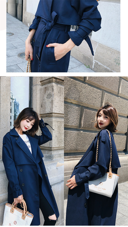 Windbreaker Female 19 Spring Autumn new Korean leisure chic loose ladies harbor wind Long Trench Coat for women X509 blue 8