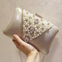 Diamond Rhinestone Pearls Beaded Women Evening Bag Female Luxury Clutch Bag Vintage Satin Lady Party Wedding Clutches Purses milisente women beaded clutch bag female wedding clutches ladies evening purses