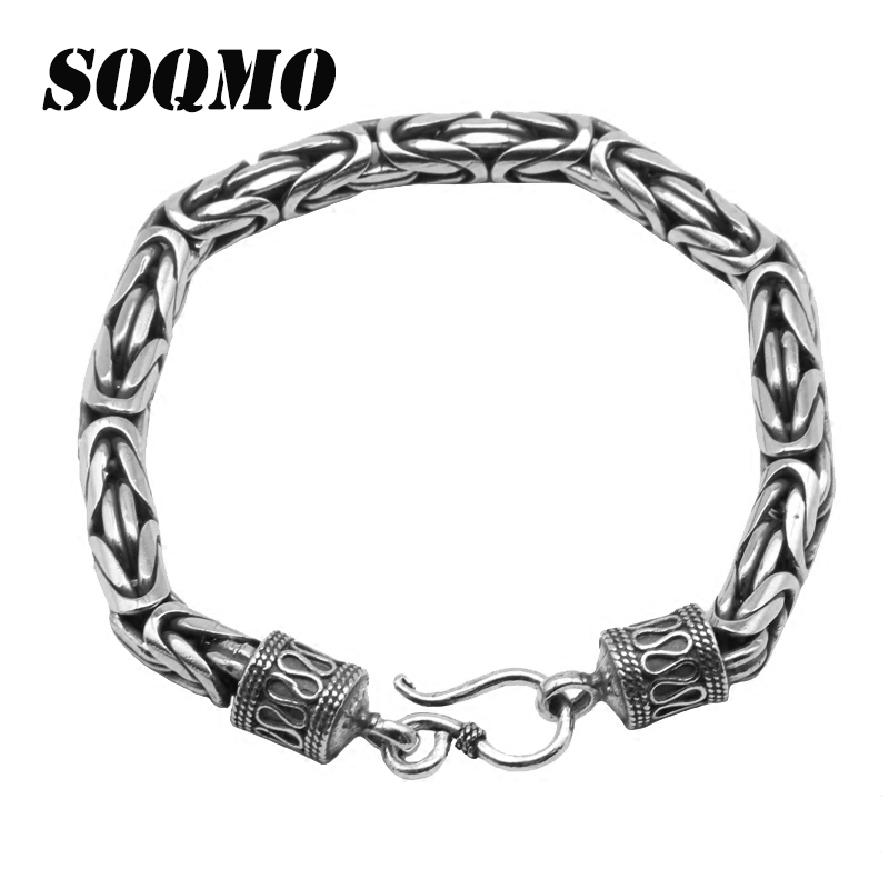 SOQMO Real Solid Pure 925 Sterling Silver Peace Lines Bracelet for Lovers Corsair Jewelleries Vintage Punk Thai Silver Men Lady