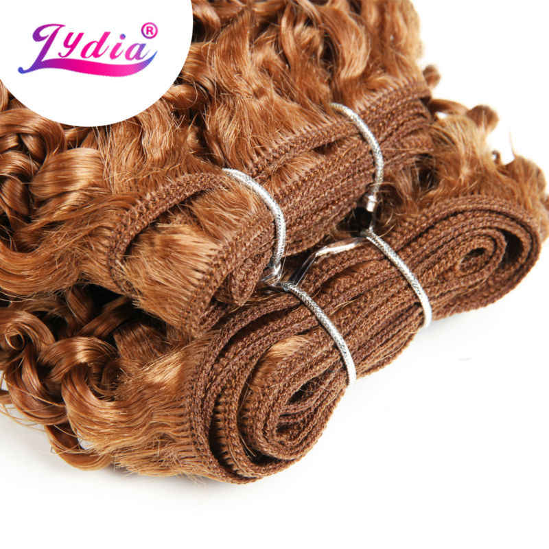 """Lydia For Women Synthetic Curly Hair Extensions New Water Wave 10"""" 3PCS/Lot Pure Color 30# Hair Weaving Kanekalon Hair Bundles"""