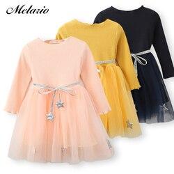 Melario Girls Dress Autumn New White Princess Denim Dress Full Sleeve Cotton Children kids dresses for girls Clothes 2-7Years