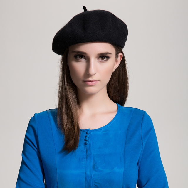 Muchique Winter Hat Wool Black Beret Classic French Berets in Solid Color Soft Warm Hats Free Shipping 675001C