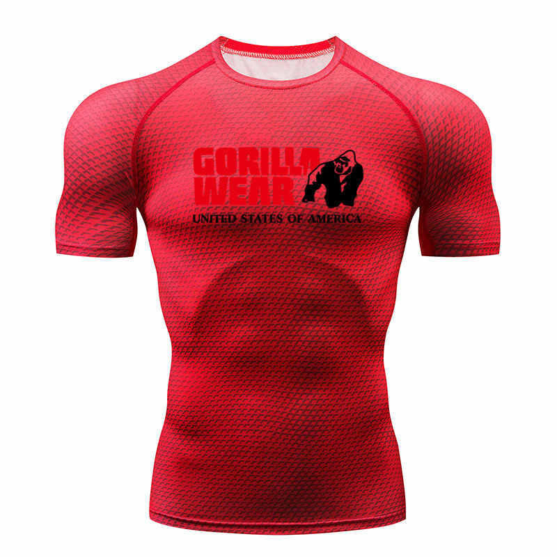 2018 Новый горячий гориллы Рубашка мужская футболка тренажерный зал фитнес-Колготки рубашку Бег футболка Demix Мужская спортивная одежда Rashgard