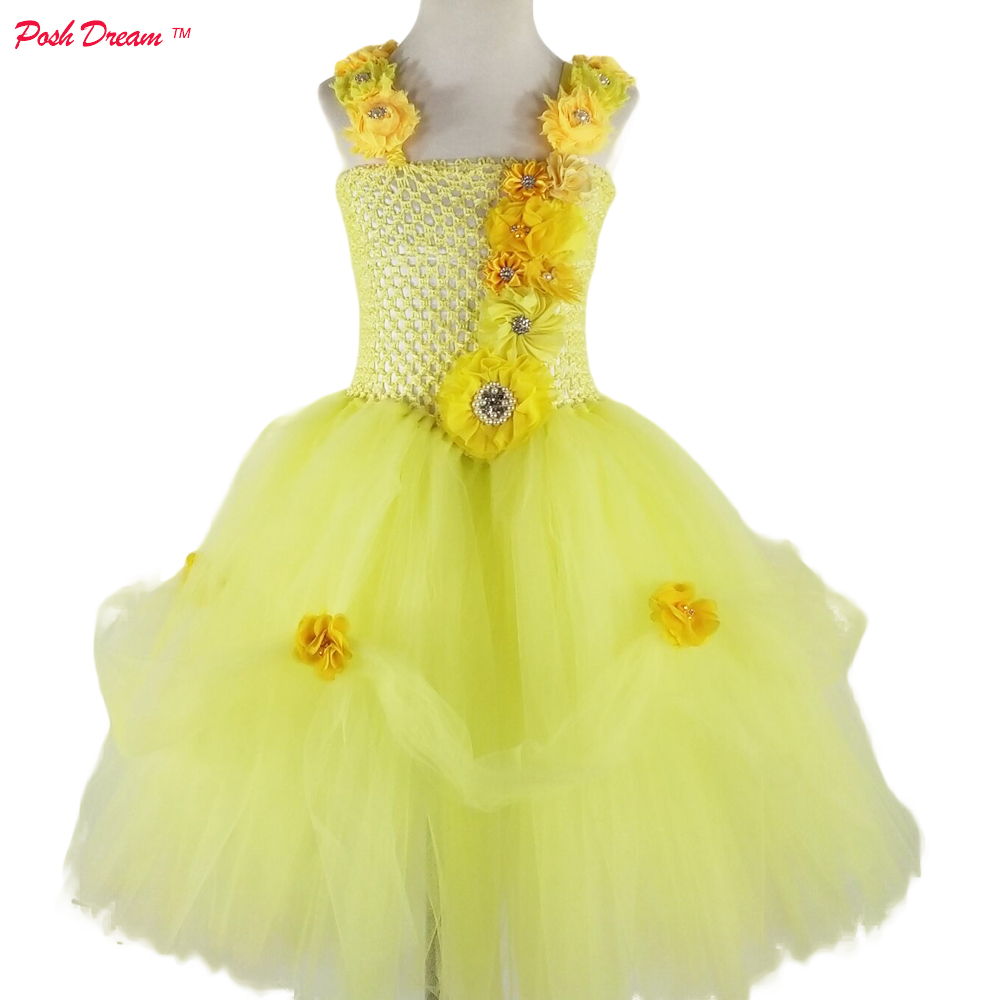 POSH DREAM Belle Flower Kids Girls Cosplay Dresses For Halloween Party Yellow Belle Princess Children Christmas Clothes for Girl etre belle 24 etre belle purity intense 24 hour facial care cream 5071 71 200