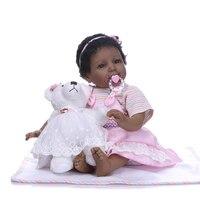 22inch Silicone Reborn Baby Dolls Toy lifelike black skin bb reborn kids Xmas Birthday Gift Kids Present Girls Brinquedos