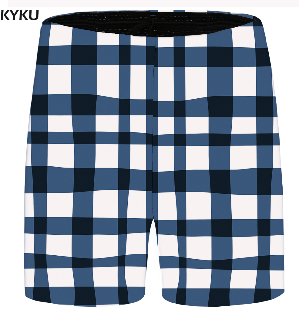 KYKU Brand Lattice Shorts Men Blue Casual Shorts Cargo Gothic Beach Mens Short Pants High Quality 2018 Summer Big Size