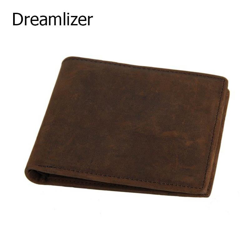 100% Genuine Leather Men Wallet Zipper Coin Wallet Men Purse Bifold Leather Boy Male Card Holder Purse Vintage Money Bag
