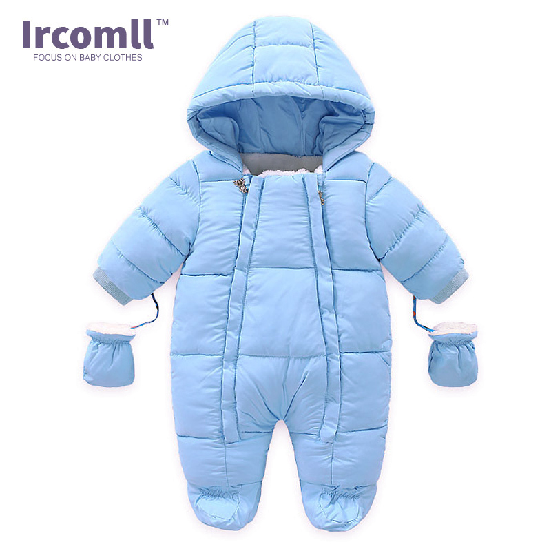 Ircomll Warm Infant Baby Jumpsuit Cotton Down Rompers Hooded Inside Fleece Boy Girl Winter Autumn Overalls Children Outerwear fashion baby jumpsuit winter rompers hooded children winter jumpsuit duck down baby girl rompers infant boy snowsuit overalls