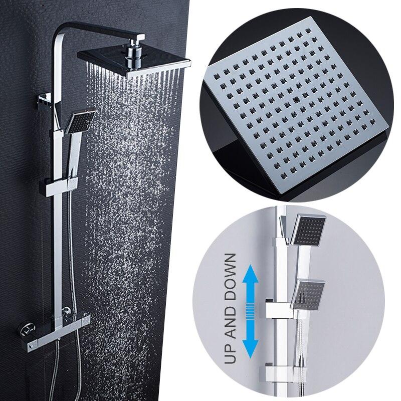 Ensemble de douche thermostatique ROVATE pour salle de bain, système de douche à robinet de bain à contrôle de température constante, laiton chromé - 4