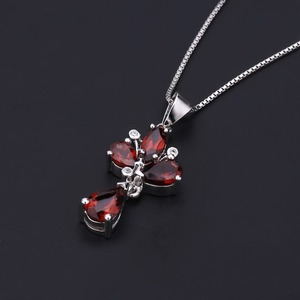 Image 4 - GEMS BALLET 3.42Ct Natural Red Garnet Flower Pendant 925 Sterling Silver Necklaces & Pendants Fine Jewelry For Women Wedding