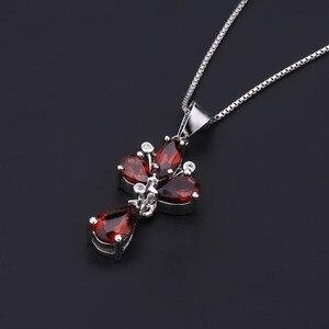 Image 4 - Pendentif fleur grenat rouge naturel, collier en argent Sterling 925, bijoux fins pour femmes, mariage, BALLET, 3.42ct
