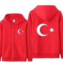 Omnitee Freddo Turchia Bandiera Felpe Tuta Da Uomo Casual Autunno del Panno Morbido del Rivestimento Della Chiusura Lampo Pullover Turchia Felpa