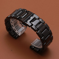 polished New 20mm 22mm Watchband belts Ceramic Black Strap for Samsung Gear S3 Classic Butterfly Buckle watches Belt Bracelet