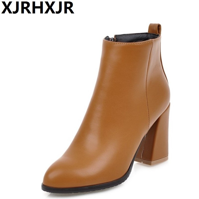 XJRHXJR Big Size 34-43 Shoes Woman Autumn Winter Pointed Toe Martin Boots Ladies Fashion Square Heel Side Zipper Ankle Boots xjrhxjr 2018 autumn winter new long