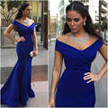 Charming Royal Blue V Neck Mermaid Floor Length Off The Shoulder Prom Dress With Ruching