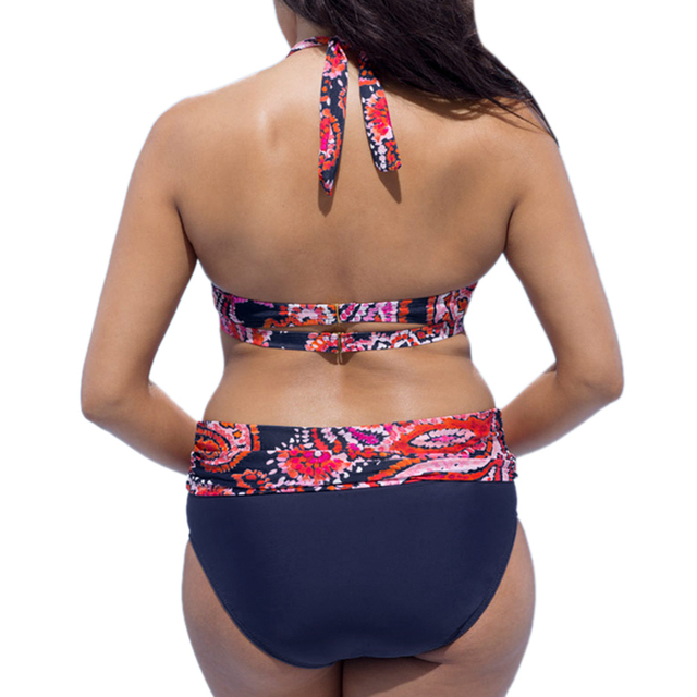Large size bathing suit women swimwear bikini 2018 Push Up  high waist floral print Swimsuit Beach bikini plus size swimwear 4XL 3