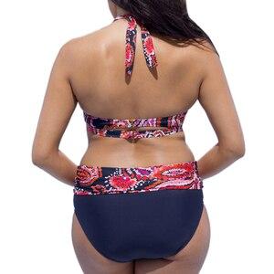 Image 4 - Large size bathing suit women swimwear bikini 2018 Push Up  high waist floral print Swimsuit Beach bikini plus size swimwear 4XL