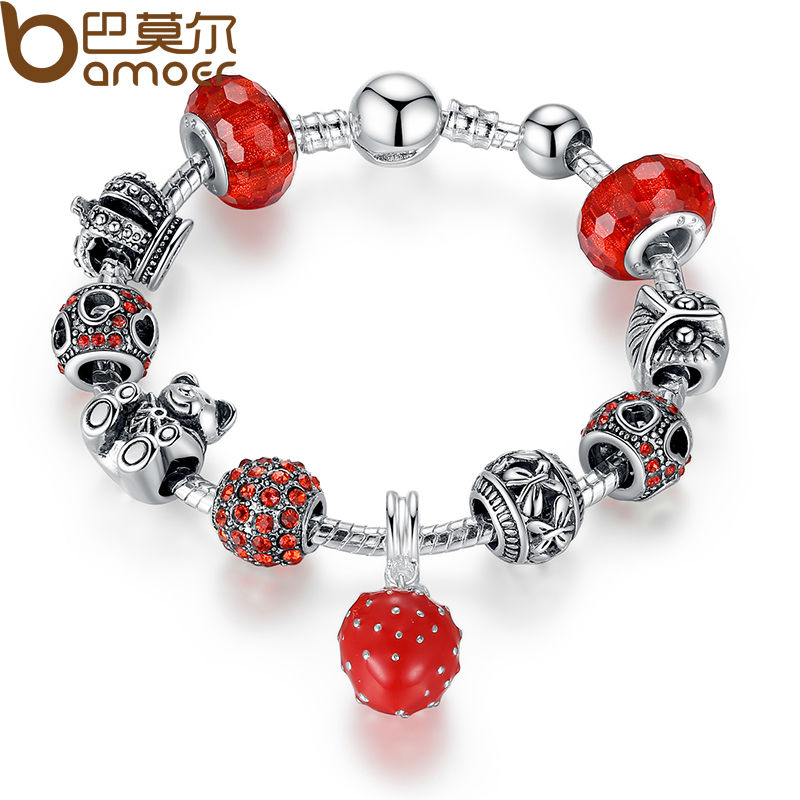 BAMOER Silver Color Charm Bracelet & Bangle with Crown & Bear Charm & Heart Crystal Ball Red Murano Glass for Women PA1457