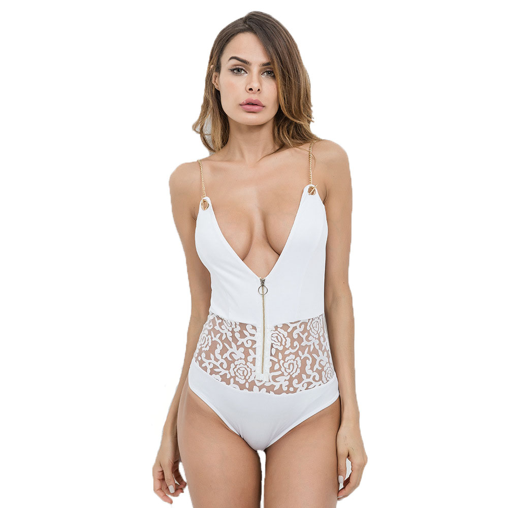 Sexy Bodysuit Women Summer Off White Shoulder Strap Zipper Splicing Lace Jumpsuit White Romper J21