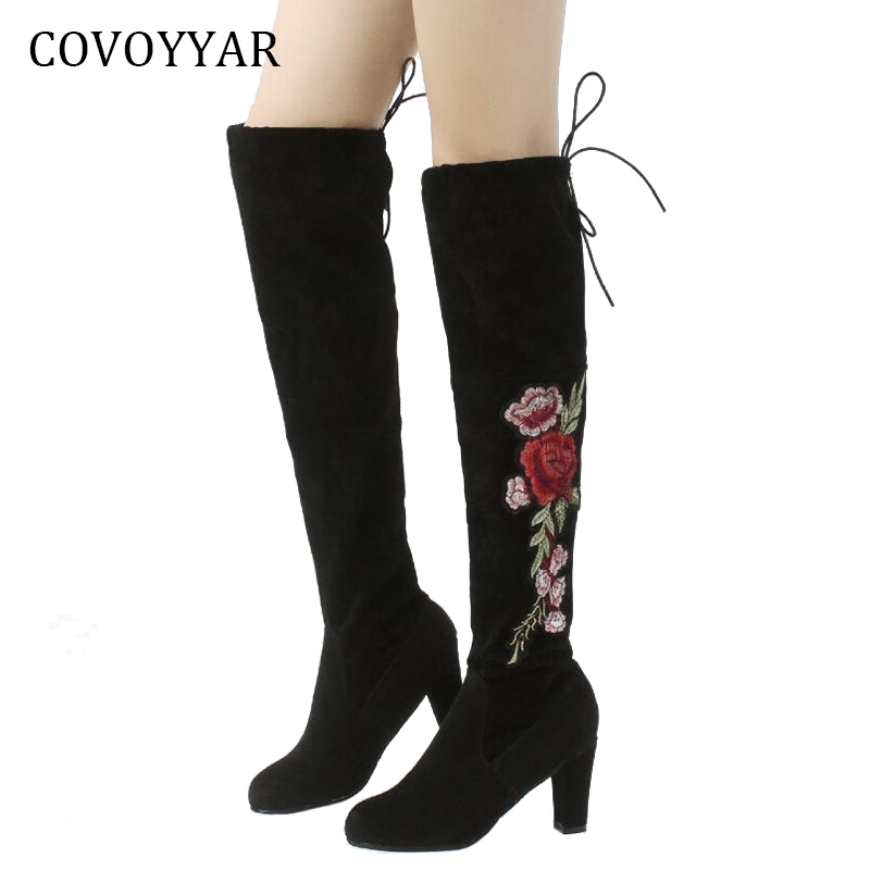 COVOYYAR 2018 Embroidered Women Booties Over Knee High Boots Embroidery Flower Winter Boots Thick Heel Women Shoes WBS722 flower embroidery bridal winter chinese lace up women ankle boots medium heel embroidered red satin wedding booties stiletto