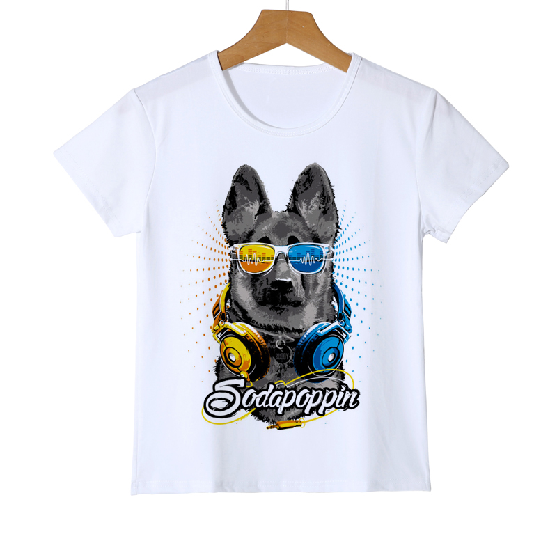 Children's Dog Cartoon Printed T Shirt Kids Cool dog with sunglasses Casual Short Sleeve Tops Boys and Girls Cute T-Shirt Y8-52