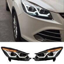 Новый Автомобиль Стайлинг Фар Головного Света Для Ford Kuga Побег 2013 2014 2015 2016 Бифокальные Линзы Авто Лампы Высокого Качества