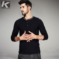 2016 Autumn Mens Fashion T Shirts Button Pocket Black White Brand Clothing Long Sleeve Man S