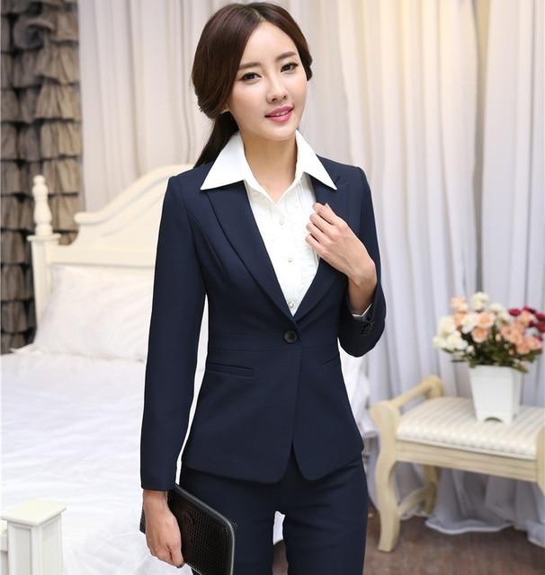1e9764a2b14 New Professional Business Women Blazers Jackets 2015 Autumn Winter Long  Sleeve Ladies Tops Blaser Feminino Outwear Plus Sizze