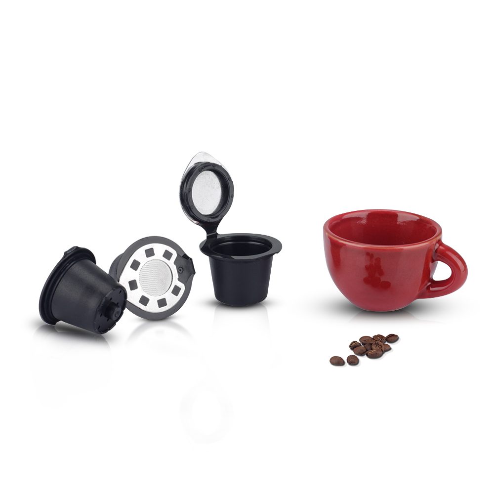 Refillable Reusable Refill Coffee Capsule Pod Filter Compatible for Nespresso Machines Makers Brewer Sliver