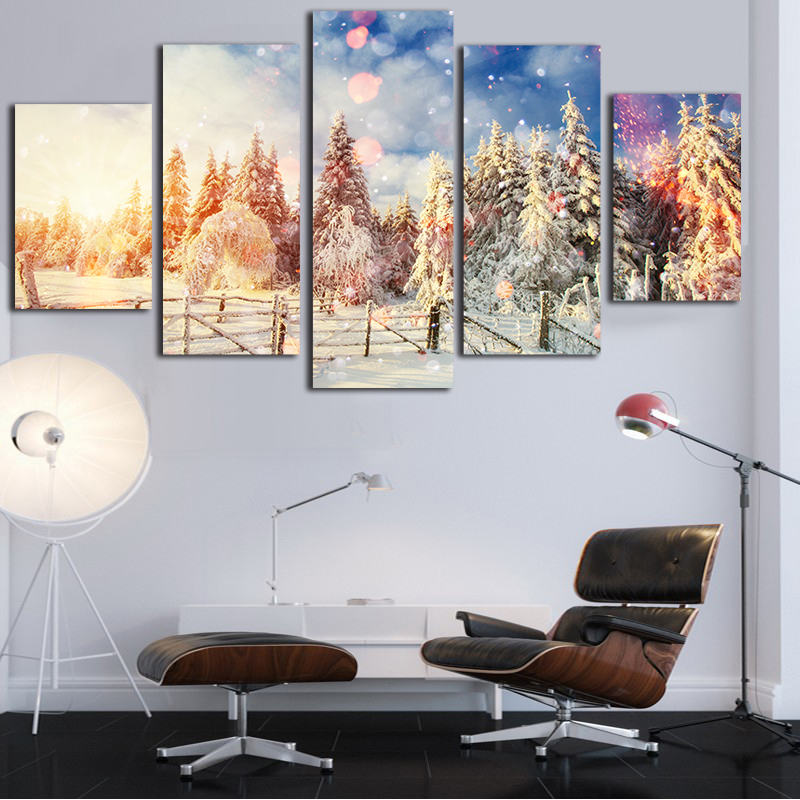 5 Panel High Quality The Winter Canvas Painting Large Wall Pictures For Living  Room In CheapCompare Prices on Large Wall Pictures for Living Room  Online  . Cost To Paint A Large Living Room. Home Design Ideas