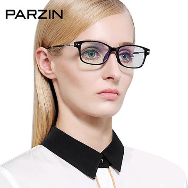 Parzin tr 90 gafas de marco marco de anteojos mujeres miopía gafas accesorios gafas de lentes claros con la caja 5019