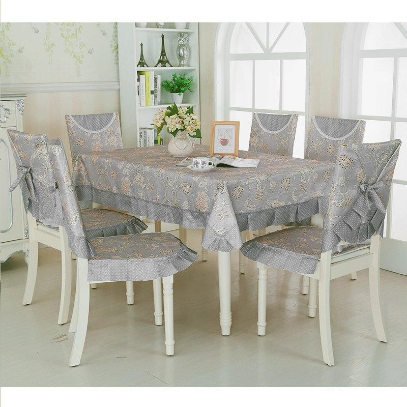 Quality Kitchen Tables: Vintage Gray Quality Table Cloth 9pcs/set Soft Dining Room