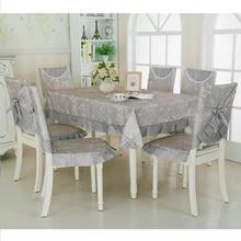 Mantel de calidad gris Vintage 9 unids/set suave para comedor, cocina, mesa, manteles de boda, juego de fundas para sillas, mantel
