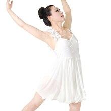 Girl Adult Elegant Drape Mesh Kjole Skating Performance Konkurrence Kostumer Ballet Lyrical Dance Dress