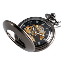 Christmas Gifts Steampunk Clock Pocket Watch Pendant Necklace Women Smooth Case Pendant Vintage Luxury Automatic Mechanical
