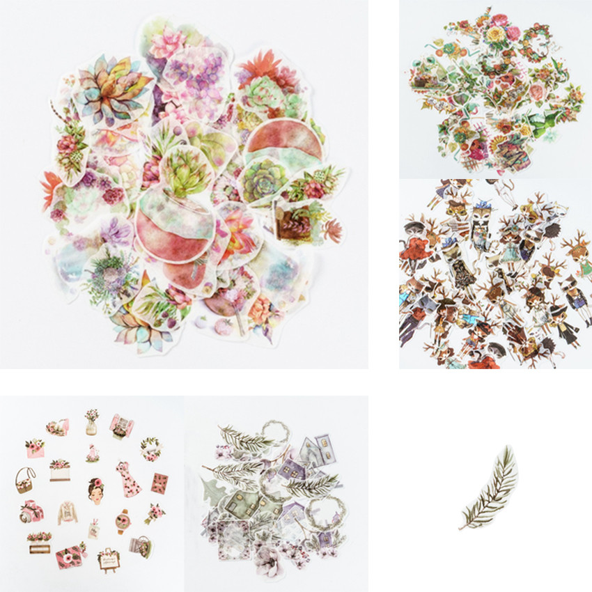 40pcs/pack Flower Building Animal Label Stickers Diary Scrapbooking Sticker Albums Photo Decor Childrens