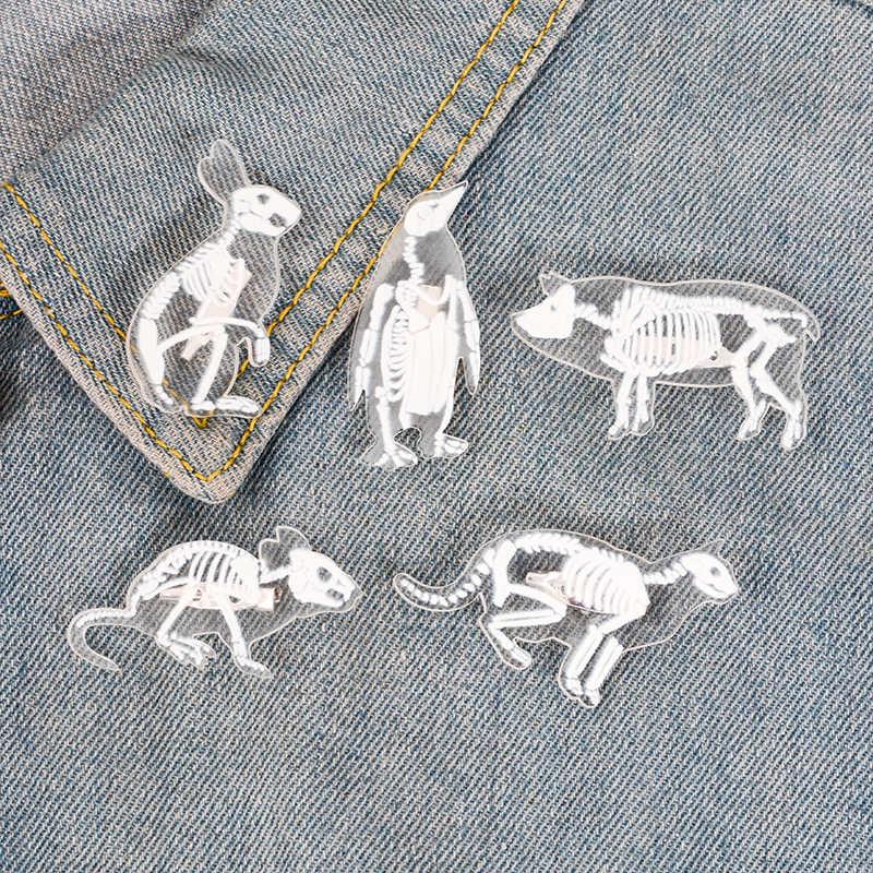 สัตว์โครงกระดูกเคลือบเข็มกลัดเพนกวินหมูกระต่ายแมวเมาส์ Bird Pins สำหรับเสื้อผ้ากระเป๋า Punk ของขวัญเครื่องประดับสำหรับเพื่อน