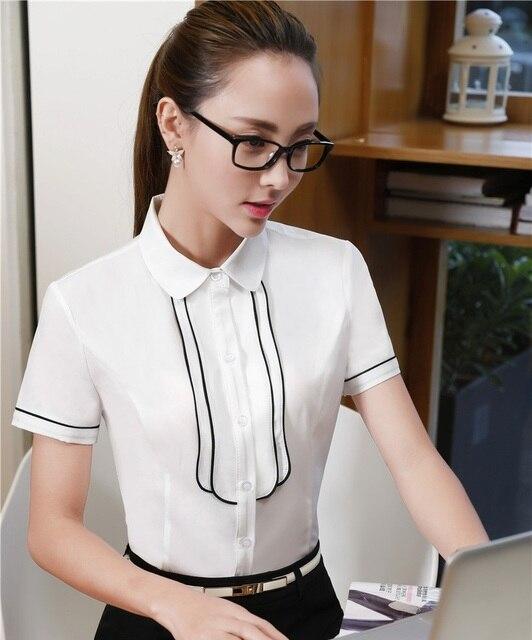 db6997b334 Verão Formais Branco Blusas Femininas Camisas de Manga Curta Cinza Uniforme  Escritório Senhoras Blusas e Tops