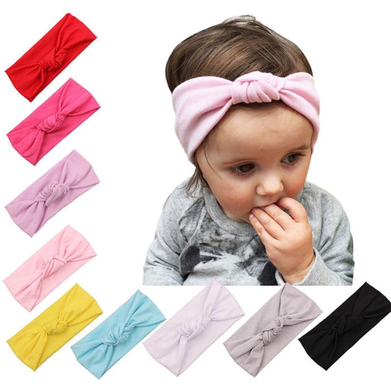 Ideacherry Newborn Baby Headdress Girls Toddler Infant Solid Color Hairband Knitted Turban Bowknot Elastic Headdress Accessories