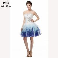 2018 Fantastic Ball Short Homecoming dress Crystals Beaded Strapless White Blue Ombre Ruffle Short homecoming Graduation dress