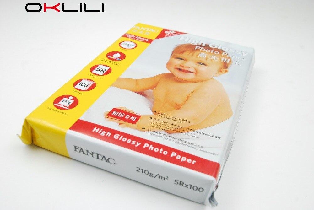 ORIGINAL NEW for FANTAC 5R x 100 High Gloss High Glossy Photo Paper 127 x 178 mm 100 sheets 210g 5760dpi for Inkjet Printer