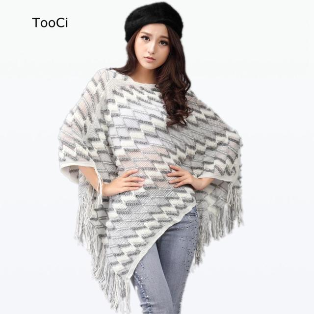 2015 New Spring Autumn Winter Women Sweater Ladies  Tassels Poncho Long Knitted Pullovers Knitted Cape Coat