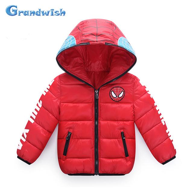 Grandwish meninos spiderman casacos meninas casacos de inverno com capuz casacos crianças dos desenhos animados impresso casacos grossos crianças 4 t-12 t, SC370