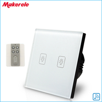 Remote Touch Switch EU Standard 2 Gang 1 Way RF Remote Control Light Switch White Crystal
