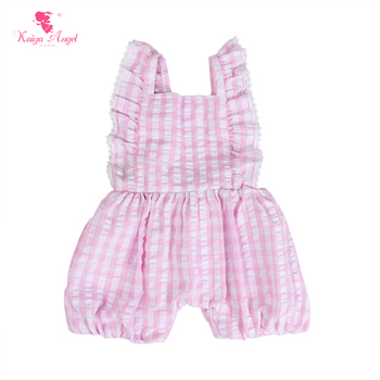 Kaiya Angel Princess Baby Romper Summer Pink and White Plaid Bubble Newborn Girl Spring Pink Buttons Clothes Factory Wholesale