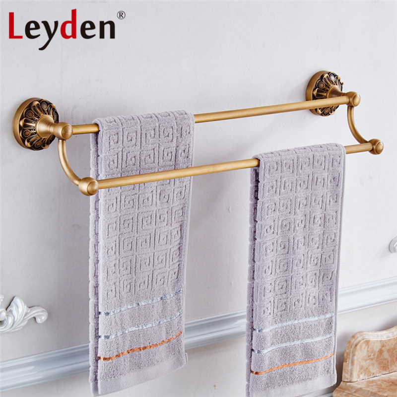Leyden Vintage Towel Rack Copper Double Towel Bar Wall Mounted Antique Brass/ Black Towel Rail Retro Holder Bathroom Accessories high quality towel racks brass 50 60cm antique towel rail copper wall mounted towel bar bathroom f503