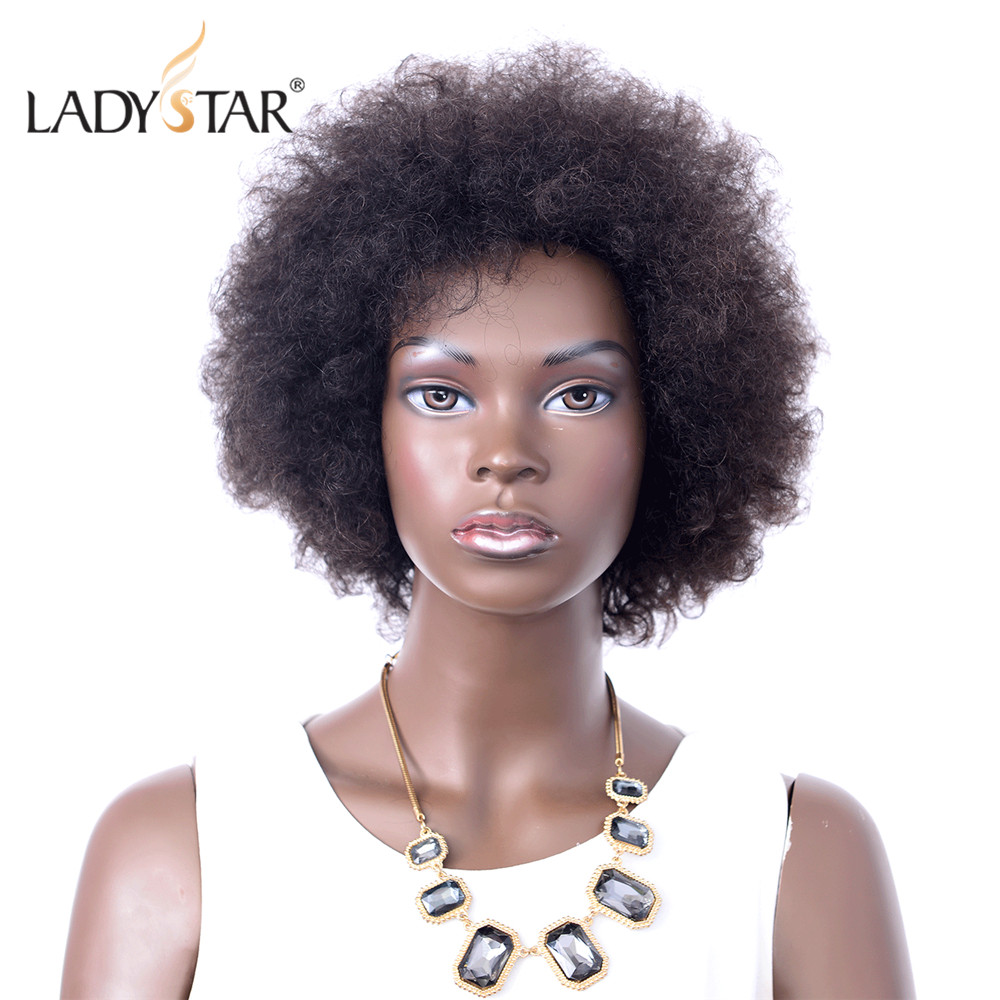 LADYSTAR Afro Kinky Curly Wig Remy Human Hair Wigs For Women Brazilian Short Wig Free Shipping